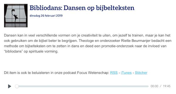 Interview NPO1 focus radio
